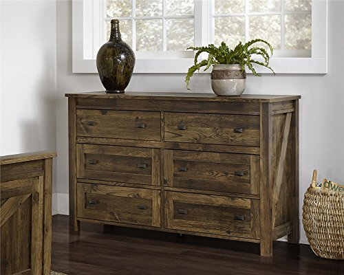 Altra Furniture Farmington 6 Drawer Dresser, Large, Century Barn Pine