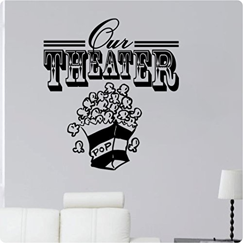 "24"" Our Theater Movie Room Popcorn Den Living Room TV Wall Decal Sticker Art Mural Home Décor Quote"