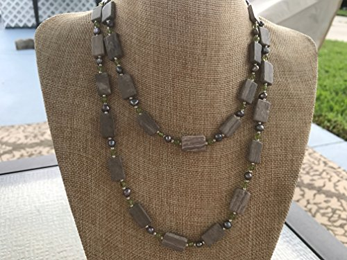 Handmade Gray and Cream Marble Rectangles, Tiny Green Peridot Gemstone Rounds, and Gray Freshwater Pearls Necklace