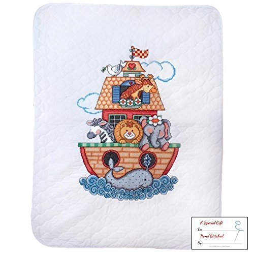 Tobin Noah's Ark Baby Quilt - Stamped Cross Stitch Kit T21716-34 by 43-inch with Gift Card