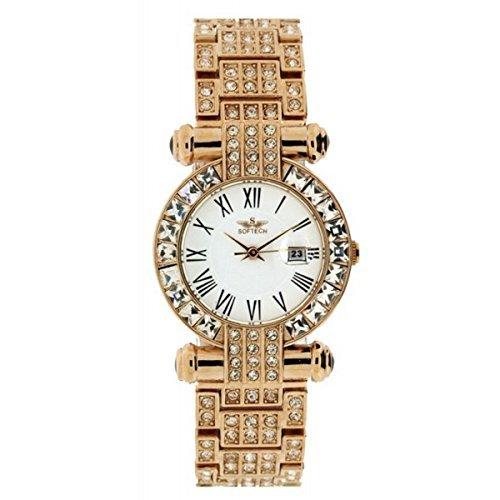 Marca moda señoras Diamante mujer muñeca reloj oro rosa cuarzo analógico: Amazon.es: Relojes