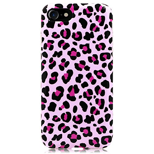 iPhone 8 Case, GoldSwift Flexible Soft Rubber Gel Case for iPhone 8 and iPhone 7 (Pink Leopard Print)