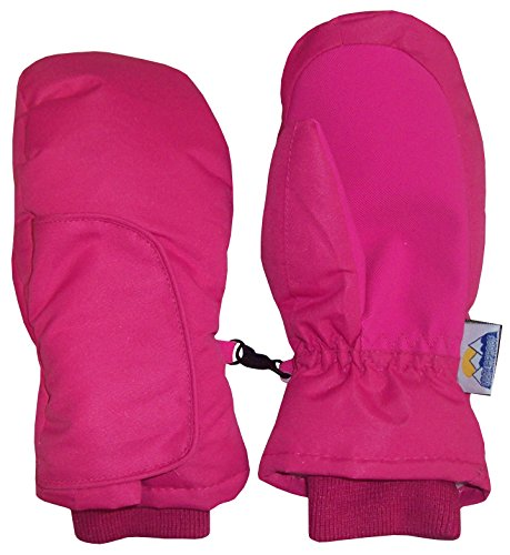 N'Ice Caps Kids Easy On Velcro Wrap Waterproof Thinsulate Winter Snow Mitten (Fuchsia Solid, 1-2 Years)