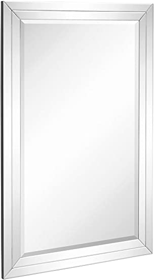 Hamilton Hills Large Flat Framed Wall Mirror with Double Mirror Edge Beveled Mirror Frame Vanity, Bedroom, or Bathroom Mirrored Rectangle Hangs Horizontal or Vertical 24 x 36