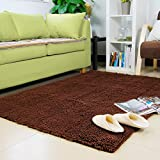 Ustide Coffee Living Room Area Rug Sets Modern Shaggy Rug Soft Non-slip Carpet Fluffy Bedroom Carpets Chenille...