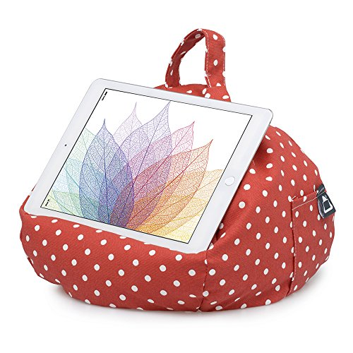 iBeani Tablet Stand/Beanbag Cushion Holder, Compatible with All iPads, Tablets & eReaders. Comfort at Any Angle - Polka Dot Red & White