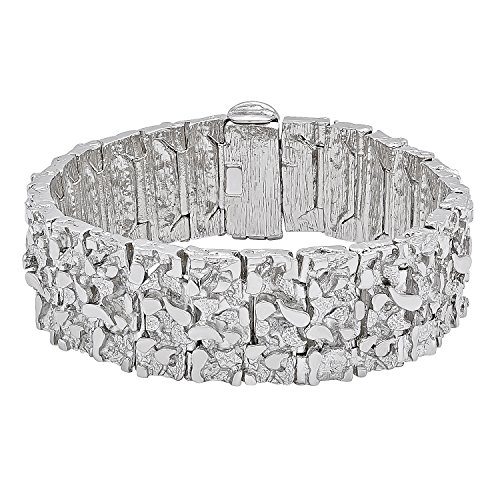 "Jumbo 22.5mm Rhodium Plated Chunky Nugget Textured Link Bracelet, 8"" + Microfiber Jewelry Polishing Cloth"