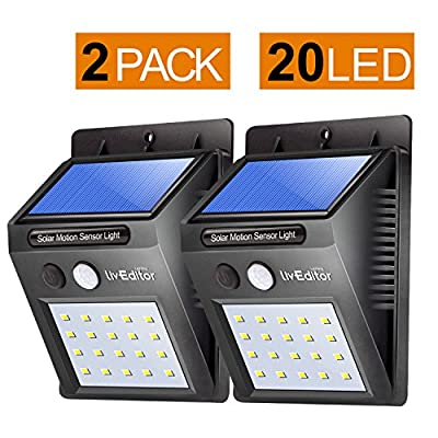LivEditor 20 LED Solar Motion Sensor Light,Outdoor Weatherproof for Driveway Garden Path Yard-2 pack