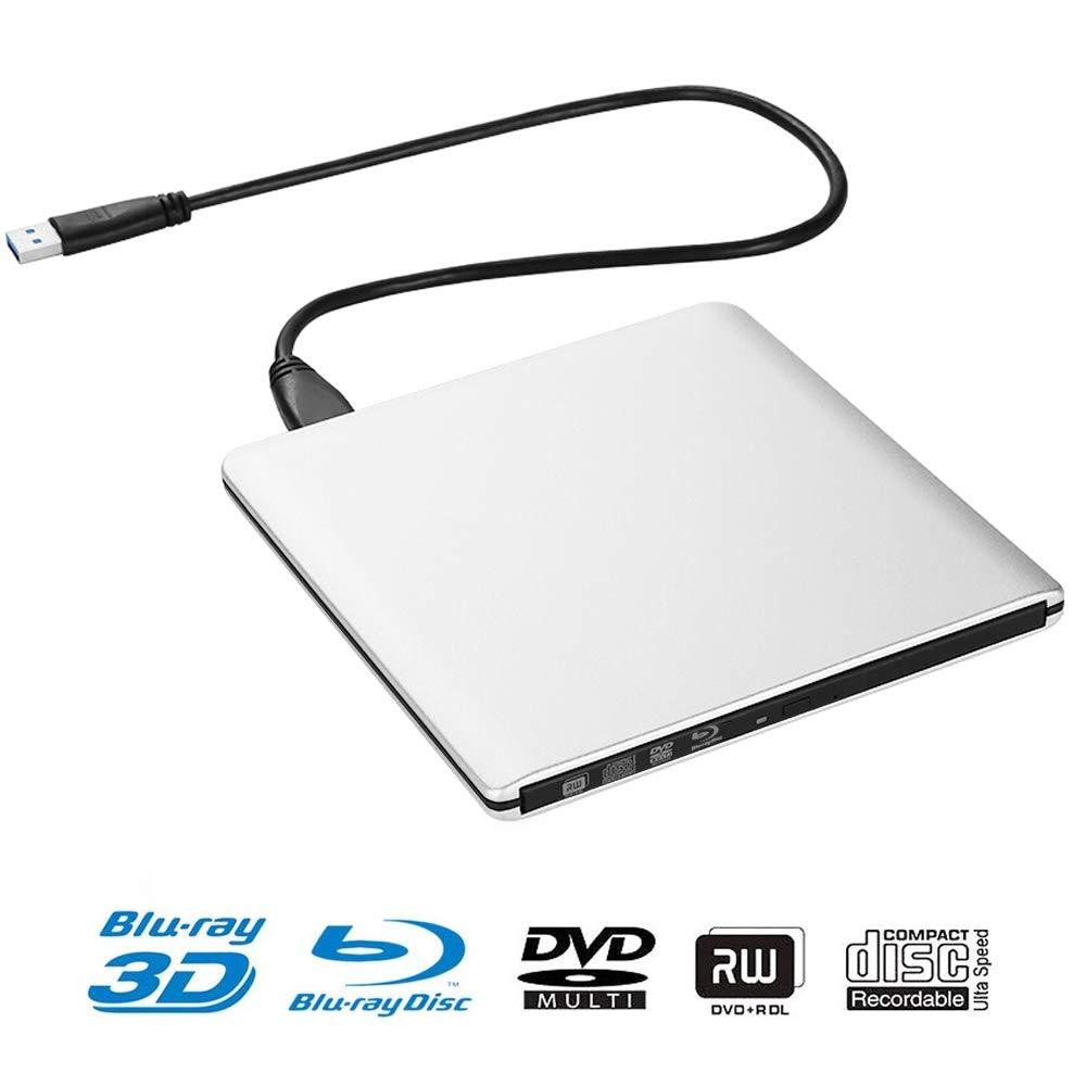External Blu ray DVD Drive, USB 3.0 External Bluray 3D Player Ultrathin Luminum Alloy Case CD DVD Burner for Mac OS Windows7/8/10 PC Plug and Play No Need Install Driver