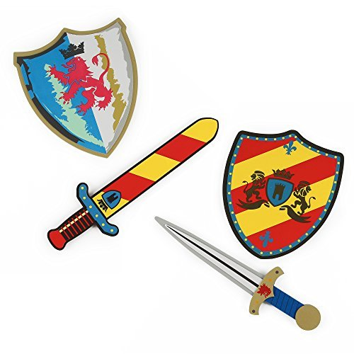 Foam Swords and Shields (Dark Shadow Lions Vs Fire Breathing Red Steel Lion) Pretend Playset For Kids, 2 Pack, Red Yellow and Blue White Color, Warrior Ninja Pirate by Kinder Toys Network