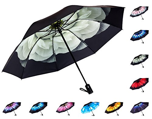 Umbrella Weight (Fidus Reverse/Inverted Automatic Windproof Folding Travel Umbrella - Compact Lightweight Portable Outdoor UV Protection Golf Umbrella For Women Men Kids-lily)