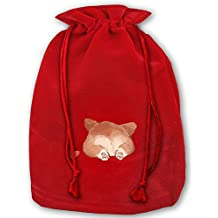 Corgi Red Gold Velvet Drawstring Stocking Bag Candy Gift Bags,Santa Sack Candy Party Cookie Bags Wedding Gift Bags
