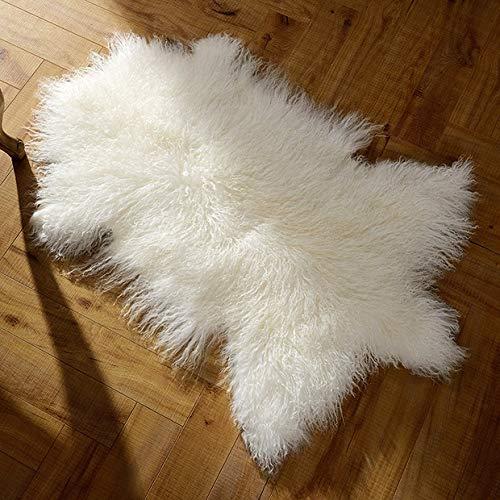 Evansmongolianfur Deluxe Genuine Mongolian fur Sheepskin Shaggy Rug One Pelt White Single,23' size-Used as area rug or across armchair-