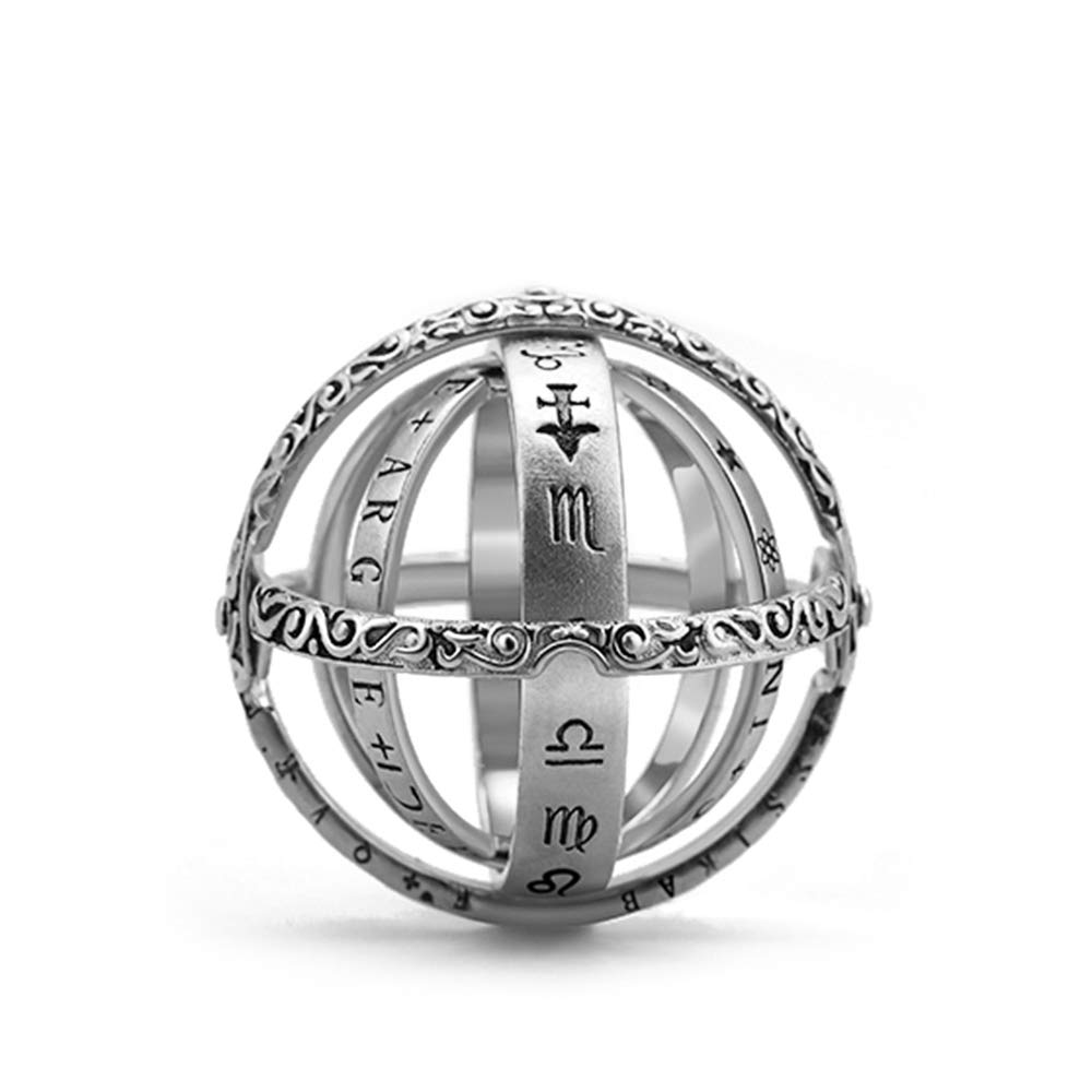 XIANGMENG Armillary Sphere Ring Astronomical Ball Ring,White Copper/Gold Plating Astronomical Sphere Ring Astrological Ring Astronomical Sphere Ring|