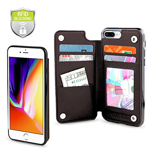 Gear Beast Top Grain Genuine Leather Protective Top View Slim Wallet Case Fits iPhone 8 Plus / 7 Plus Includes Flip Folio Cover, with Five Card Slots Including Transparent ID Holder ()