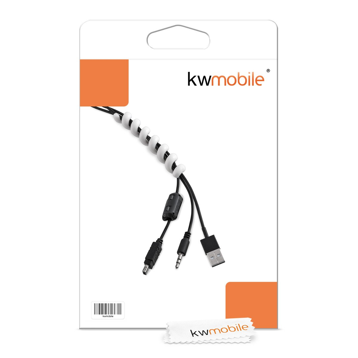 Stromkabel USB-Kabel TV PC Kabelkanal f/ür z.B Kabelschlauch 15x100mm in Wei/ß Durchmesser 10mm kwmobile 2in1 Set Kabelspirale Durchf/ührung