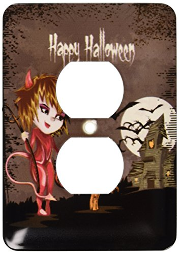 3dRose  lsp_129770_6 Happy Halloween Devil Girl Trick Or Treating Haunted House Spooky Halloween Scene 2 Plug Outlet Cover]()