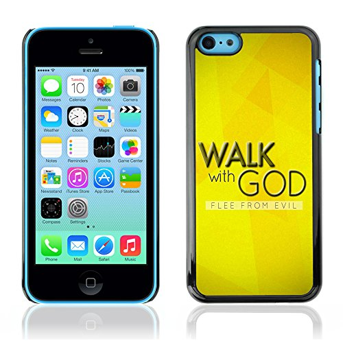 DREAMCASE Citation de Bible Coque de Protection Image Rigide Etui solide Housse T¨¦l¨¦phone Case Pour APPLE IPHONE 5C - WALK WITH GOD