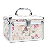 Aluminum Makeup Case Portable Travel Jewelry Cosmetic Organizer Box With Mirror Beauty