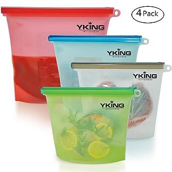 Bolsa de silicona reutilizable para alimentos Juego de 4 - (1 grande y 3 medianas) Bolsa de silicona para guardar alimentos - Bolsas de silicona ...