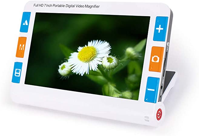 SMAA Ayuda Lupa Lectura electrónica Digital portátil 7 Pulgadas con la línea Lectura, 2X-32X Zoom, múltiple 26 Tipos Modo Color, Soporte Salida TV, para la Baja visión en Color Ceguera: Amazon.es: Hogar