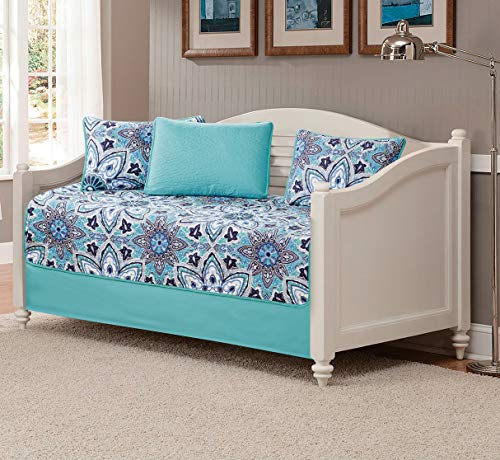 Fancy Linen 5pc Daybed Set Bed Cover with Flowers Turquoise Navy Blue Grey White New