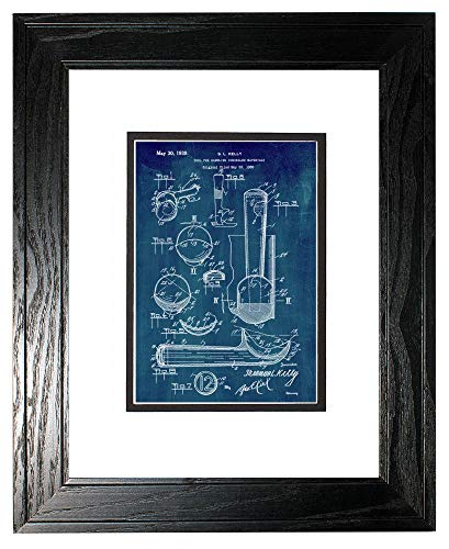 Ice Cream Scoop Patent Art Midnight Blue Print in a Black Pine Wood Frame with a Double Mat (16