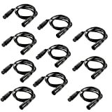 TSSS® 10 Pack 3-Pin Signal XLR Connection DMX Stage Light Cable Wire 6.5ft/2m for Moving Head Light Par Light