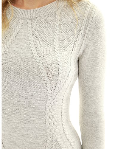 Cotton Blend Crewneck Cable Knit Sweater