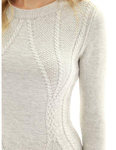 Cotton Blend Crewneck Cable Knit Sweater