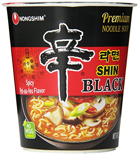 Nongshim Shin Black Noodle Soup, Spicy, 3.56 (Pack of 6) (Satellite Black Bowl)