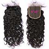 FDshine Natural Wave Closure 5x5' Brazilian Hair Top Closure with Baby Hair Lace Closures Water Wave (18', Free Part)