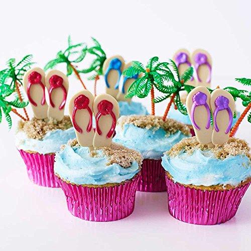 (24) Beach Flip Flop Picks Cupcake Kit - (12) Red Purple Blue Flip Flop Cupcake Picks (12) Palm Tree Novelties (30) Pink Foil Cupcake Liners - Summer Luau Swim Bachelorette Bridal Birthday Party by Cakegirls