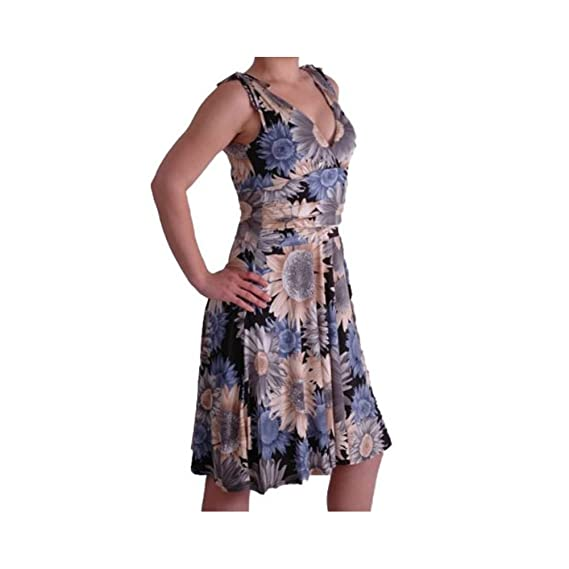 e77a80732a3 EyeCatchClothing - Eve V Neck Floral Print Slinky Dress: Amazon.co.uk:  Clothing
