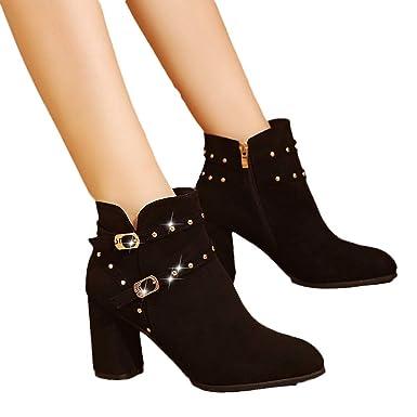 MYMYG Botas de Tacon Alto para Mujer Botas de Ante de Las Mujeres Botas de La Correa de Hebilla de Tacón Alto Zapatos Mujer Black Friday Botines: Amazon.es: ...
