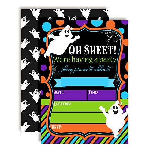 Oh Sheet! Funny Ghost Halloween Birthday Party Invitations, 20 5