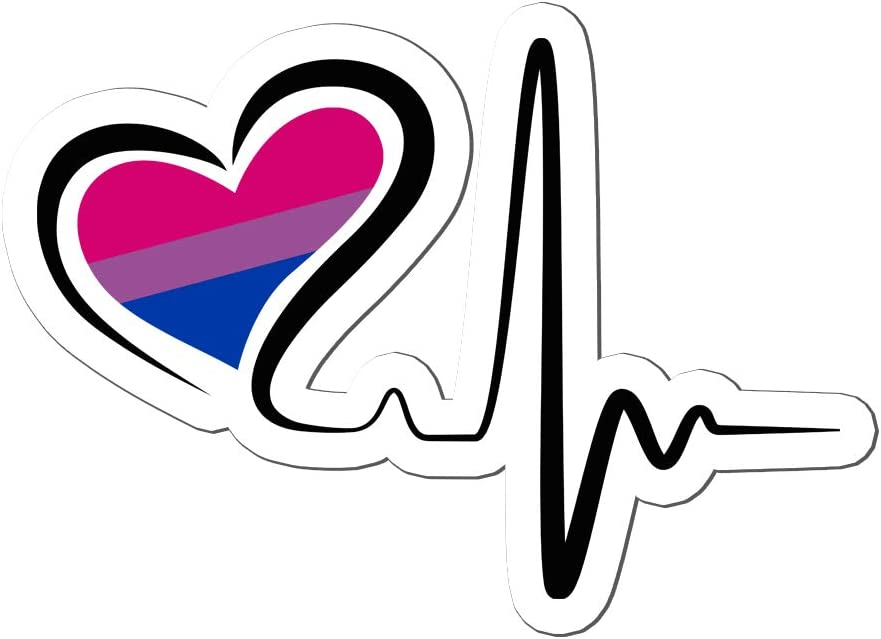 King-gg Shop Pride Month Bisexuality Heartbeat Bisexual Heart Artwork Nurse Sticker Pack 3pcs Die Cut Cute Nursing LGBTQ Decals for Laptop LGBT Stickers for Water Bottles Cars Tumblers