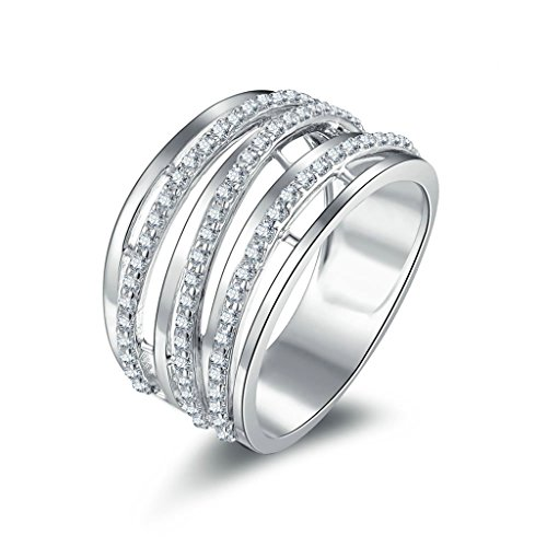 AmDxD Jewelry Silver Plated Women Promise Customizable Rings Design CZ Size 9,Engraving by AMDXD