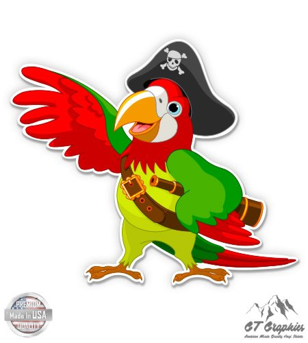 "Pirate Parrot - 12"" Vinyl Sticker Waterproof Decal"