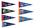 "Zipperstop Officially Licensed Mini Pennants Fan Pack Set Includes Giants, Jets, Mets, Yankees, Rangers, Islanders & Knicks 4"" x 9"""