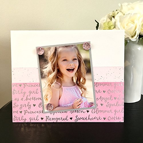 "- Girly Girl pink princess sweetheart text jeweled gift handmade magnetic picture frame holds 5"" x 7"" photo 9"" x 11"" size"