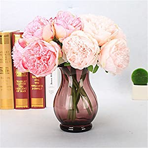 JJH 5 Branch Plastic PU Real Touch Peonies Tabletop Flower Artificial Flowers 64
