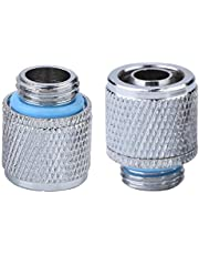 PC Water Cooling Fittings, ASHATA 2PCS G1/4 2 Points Soft Tube Compression Fitting with Brass Material for Computer Water Cooling System
