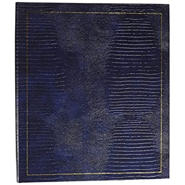 Pioneer Photo Albums 100 Page Leatherette with Gold Stamped Cover 3-Ring Magnetic Album, Navy Blue