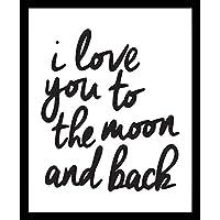 I Love You to the moon and back Quote Frase Luna Te Amo Blanco y Negro Cuadro decorativo Print Animales Regalo Arte Poster Cuadro Decorativo Art Wall Art Vintage Decor Home Decor Decoración Retro Hipster Cool