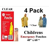 "4 VAS Childrens 40"" X 60"" Emergency Child / Kid Rain Poncho - CLEAR"