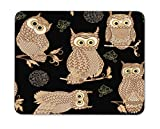 Newing Five Light Brown Owls Mouse Pad,Natural Rubber Mouse Pad, Quality Creative Wrist-Protected Wristbands Personalized Desk, Mouse Pad (9.5 inch x 7.9 inch)