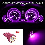 Partsam 4pcs Pink Purple T10 Miniature Wedge PC194 168 W5W LED Light Bulb 4-SMD Instrument Panel Gauge Cluster Dash Lighting Indicator Lamps
