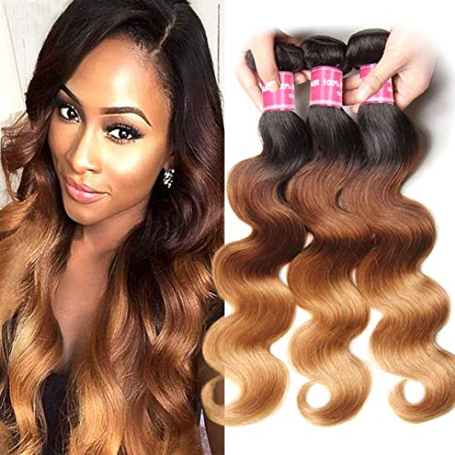 Jolia Hair 8A Colored Hair Weave 16 18 20inch Brazilian Ombre Blonde Body Wave Bundles #1B/4/27 Dark Roots 3 Tone Human Hair Weft Extensions (Best Colored Weave Hair)