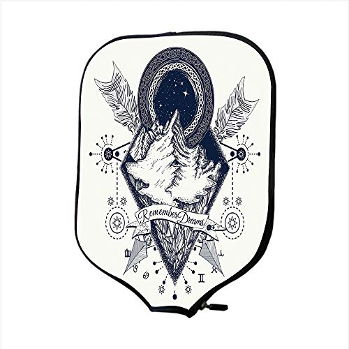 Neoprene Pickleball Paddle Racket Cover Case,Adventure,Mountains in Boho Tattoo Style with Crossed Arrows and Astrological Symbols Decorative,Dark Blue White,Fit For Most Rackets - Protect Your Paddle -